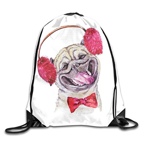 HLKPE Drawstring Backpacks Bags Daypacks,Watercolor Drawing of Dog with Furry Winter Headphones and A Bow Tie Happy Cute Animal,5 Liter Capacity Adjustable for Sport Gym Traveling Bow Tie Solid Light