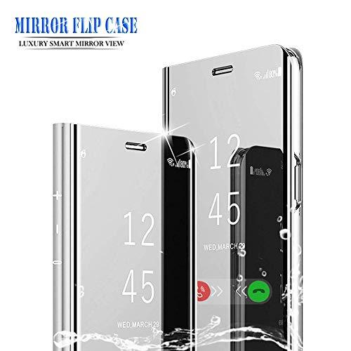 BOWFU Funda para XiaoMi RedMi Note 7,XiaoMi RedMi Note 7 Funda Espejo,Espejo Ultra Slim Brillante Standing Flip Clear View Case Cover para XiaoMi RedMi Note 7-Silver