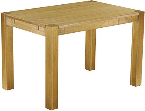 Brasilmöbel® Esstisch Rio Kanto 120x80 cm Honig Pinie Massivholz Größe und Farbe wählbar Esszimmertisch Küchentisch Holztisch Echtholz vorgerichtet für Ansteckplatten Tisch ausziehbar (Küchentisch, Möbel)