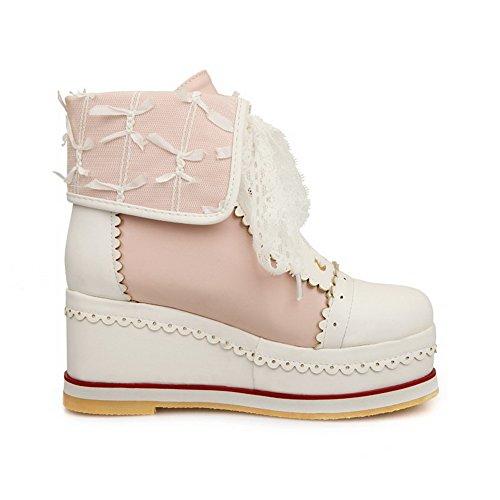 Agoolar Leder Niedrig Schnüren Zweifarbig Damen Stiefel spitze Pu Wedges Pink wIYB1Irq