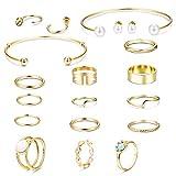 ilacolato Or/Argent Plaqué Bracelet Jonc Midi Anneaux Faux Perle Opale Boucle d'oreille Bracelets Set Femmes Filles
