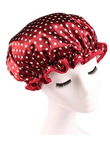 Moolecole Mode Femmes Polka Dots Double Layer Bonnet De Douche Elastic Band Shower Cap Spa Bonnet De Bain