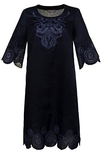 Ulla Popken Damen große Größen Leinen-Kleid Marine 52 721720 70-52 -
