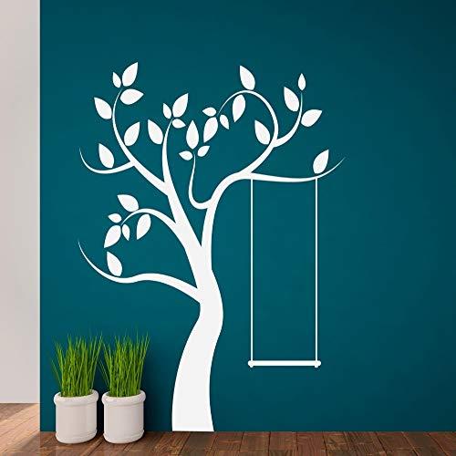 YuanMinglu Niedlichen Baum Wandtattoo Schaukel Muster Wandaufkleber Modernes Design Wohnkultur Spielzimmer Kunstwand Weiß 57x73cm -