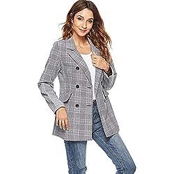 Xsayjia Mujer Blazer Elegante Traje De Ocio A Cuadros Abrigo Modernas Casual Negocios De Solapa Chaqueta