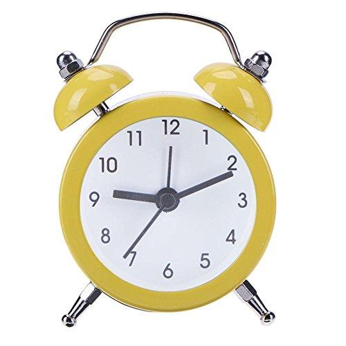 demiawaking 5,1cm Silent geräuschlos Wecker Twin Bell Retro Mini Nachttisch Analog Quarz Wecker Uhr Kids Wake Up Uhr mit lautem Bell gelb