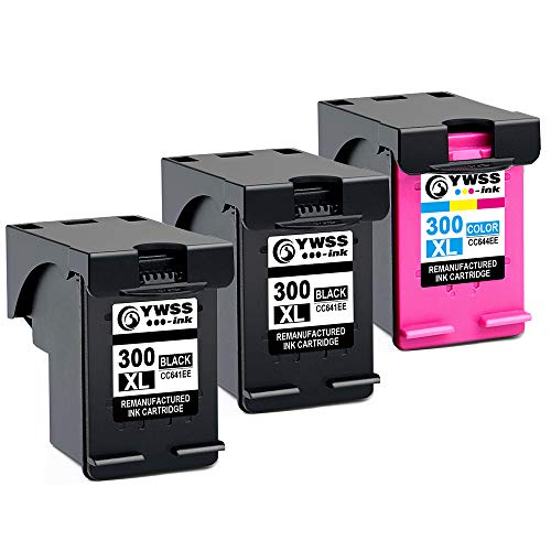YWSS Remanufactured Ink Cartridge for HP 300 XL HP 300 High Yield Ink Cartridge (2 Negro +1 Tricolor) CC641EE / CC644EE para HP DeskJetD1660/D2660/D5560/F2480/F4280/F4580/D2560