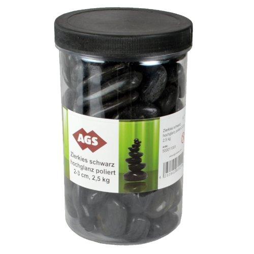 Zierkies, Dekozierkies, 2,5kg Becher, schwarz hochglanz poliert, Dekoration, für Pflanzen, Aquarien, Vasen, etc.