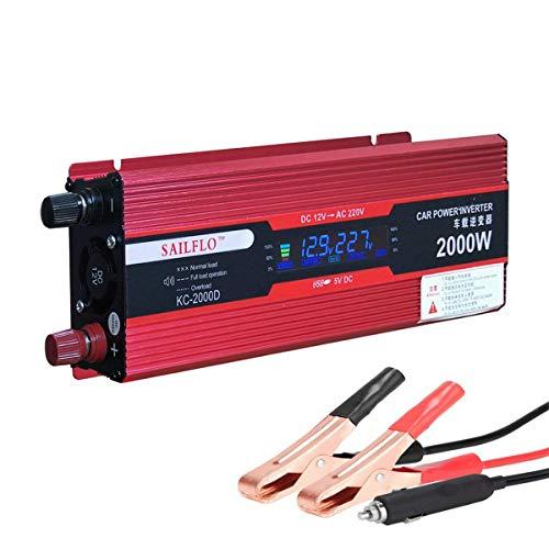 SAILFLO Digital Display Car Power Inverter 2000W 12V DC a Port 220V / 230V / 240V AC USB di collegamento con i cavi della batteria con i clip ventilatore incorporato