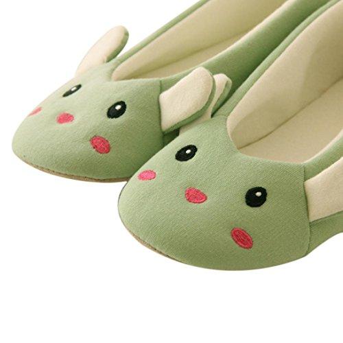Amlaiworld Fumetto donna scarpe da ballo Piano casa morbide pantofole Indoor Verde