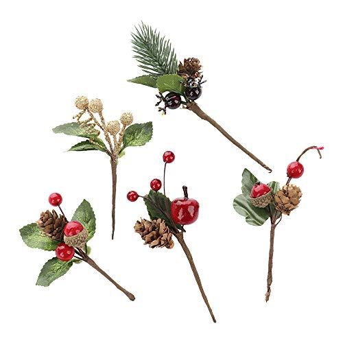 Moonvvin - confezione da 10 mini pigne natalizie con bacche di agrifoglio artificiali, decorazioni per alberi di natale