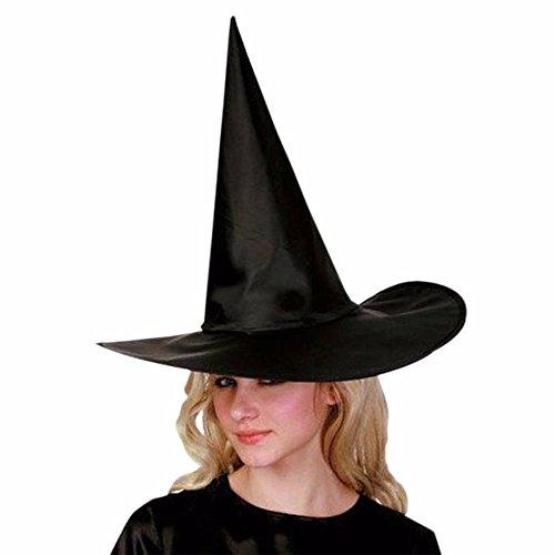 Teenager Hexe Kostüm - Erwachsenen Frauen Schwarze Hexe Hut für Halloween-Kostüm-Zusatz Spitz Zaubererhut Schwarz spitzer Hut Halloween-Kostüm Cosplay böse Hexe Zubehör für Party Fasnacht