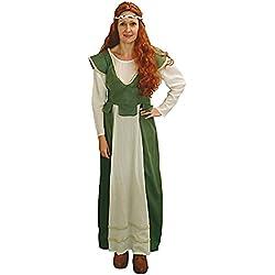 Limit Disfraz de Criada Anna Vestido Medieval Doncella Verde Mujer Campesina Doncella de Honor Carnaval (S)