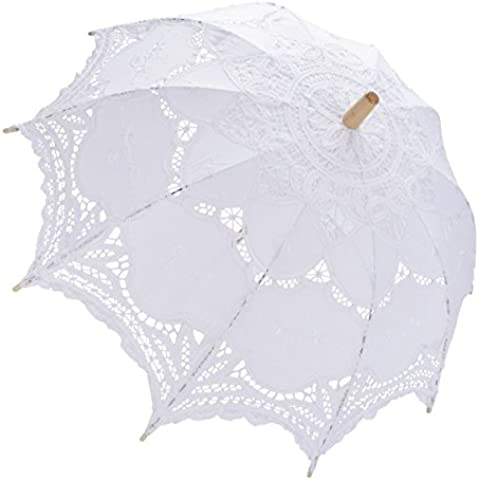 Paraguas del parasol del cordón blanco nupcial de boda de la dama apoyo de la fotografía