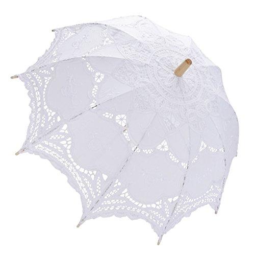 Coofit Ombrelle mariage en coton avec dentelles parasol parapluie décoration de mariage mariée parapluie Fait à la main (Blanc 01)