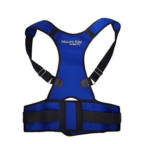 Mount Kay SPORTS Rückenstabilisator Premium Geradehalter für Damen und Herren zur aktiven Stützung und Geradehaltung der Rückenwirbelsäule, Haltungskorrektur und Rückenstütze (Blau, XL)