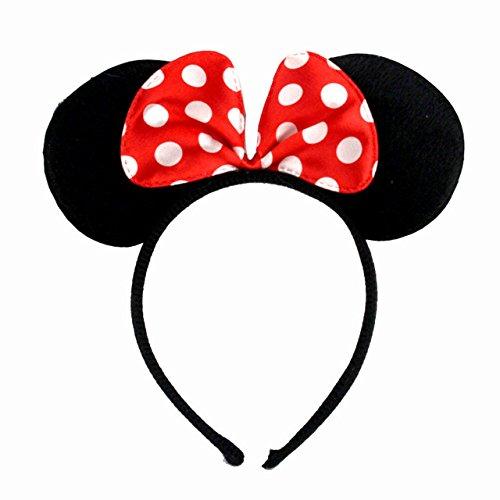 Smute Haarreifen mit Maus Ohren und Schleife | Haarreif Haarschmuck für Kinder und Erwachsene (Rot)