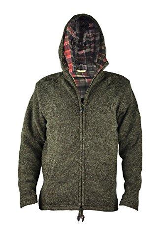 virblatt gefütterte Herren Wolljacke in S, M, L, XL Wollpullover Kapuzenjacke Hoody 100 % Naturwolle – Everest Brown M (Praxis Hoody Sweatshirt)