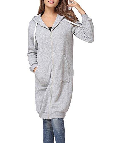 Romacci Damen Kapuzenpullover Lange Kapuzenpullis Beiläufiger Taschen Hoodie Pullover, Grau, XL