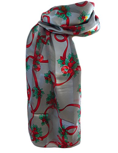 New Company Womens Christmas Candy Canes & Holly Scarf Ð Silver Ð One Size