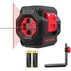 Niveau Laser Autonivelant, Meterk Niveau Laser Rotatif 15M Laser Croix Horizontal et Verticale avec Support Magnétique et 2 Piles