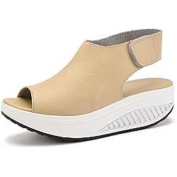 DAFENP Sandalias Plataforma Mujer Verano Sandalias Cuña Comodas Cuero Zapatos Tacon para Caminar (38 EU, Beige)