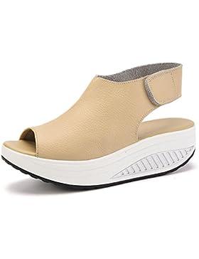[Sponsorizzato]Bdawin Donna Shape-Ups Pelle Comfort Peep Toe Sandali Zeppa Heeled Scarpe Camminare Piattaforma