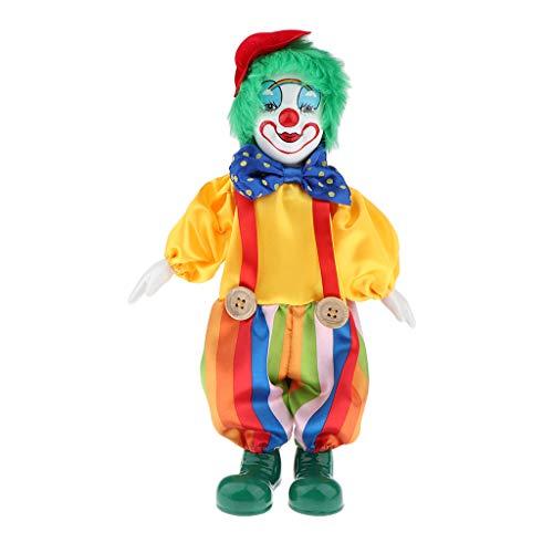 Clown Kostüm Puppe - perfk Lustige Clown Porzellan Puppe in Bunten Kostüm Handwerk