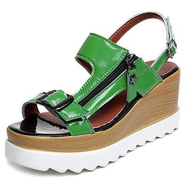 Frauen 039S Sandalen Komfort leicht PU Sohle Kleidung Casual Sommer-Licht-Komfort Sonnen Schnalle Ferse Keil grün weiß - Erde-schuh-sandalen Frauen