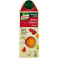 Knorr Brodo Liquido Classico Manzo 100% Ingredienti Naturali, 750 ml - Pacco da 6 x 125 ml - Totale: 750 ml