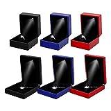 Wankd LED Ring Box Platz Samt Ring Schachtel Ehering Box Schmuckschatullen Geschenkbox für Hochzeit Verlobungsring Valentinstag