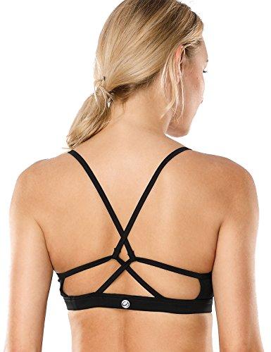 CRZ YOGA Damen Yoga Sports BH - ohne Bügel X Rücken Fitness BH Schwarz S