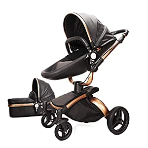 Baby Infant Stroller Pushchair Folding Buggy Travel System Pram with Bassinet (Black)   5