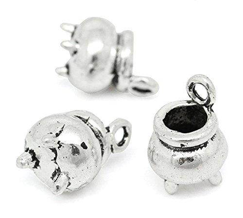 5x Cauldron Hexerei Harry Potter Tibetisches Silber 3D Charms Anhänger Beads