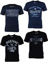 4er Pack Mustang Herren T-Shirt mit Frontprint und Rundhalsausschnitt - Farbmix blau und schwarz