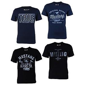 Mustang 4er Pack Herren T-Shirt mit Frontprint und Rundhalsausschnitt - Farbmix Blau und Schwarz