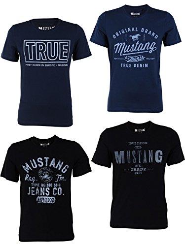 Mustang 4er Pack Herren T-Shirt mit Frontprint und Rundhalsausschnitt - Farbmix Blau und Schwarz, Größe:XXL, Farbe:Farbmix (P1)