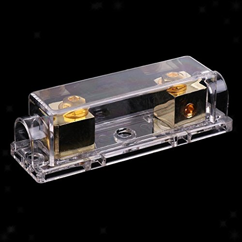 Electroprime® Easy Install ANL Fuse Holder 0 4 8 Gauge Gold Plated 2 Free Fuses SKFH128G