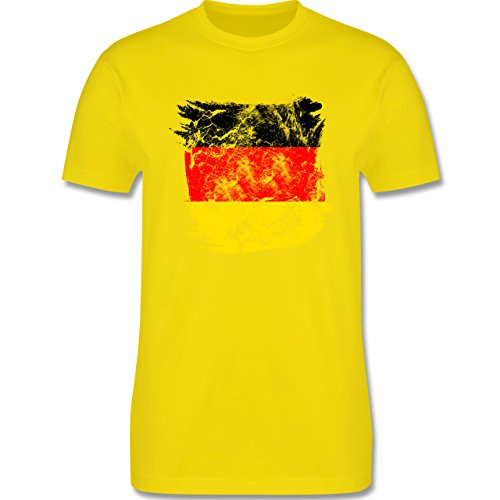 EM 2016 - Frankreich - Deutschlandflagge Pinsel - Herren Premium T-Shirt Lemon Gelb
