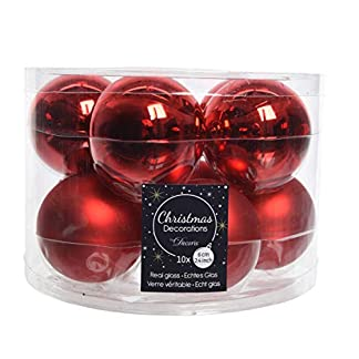 Christmas Decorations Juego de 10 Bolas de Cristal para árbol de Navidad, 6 cm, Color Rojo Brillante y Mate