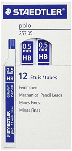 STAEDTLER 257 0.5 HB – Caja de Minas, 12 Tubos con 12 Minas Cada Tubo