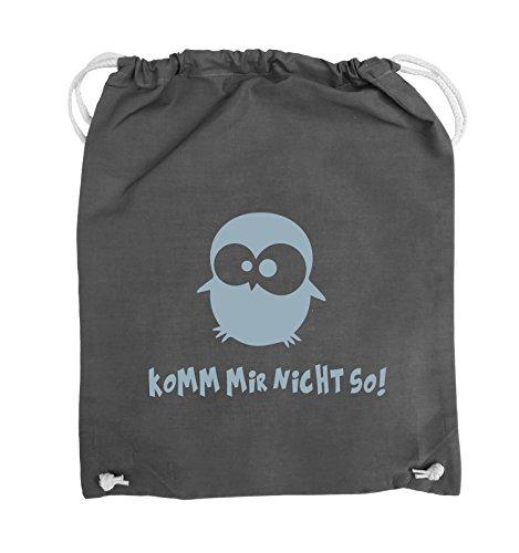 Comedy Bags - Komm mir nicht so! - EULE - Turnbeutel - 37x46cm - Farbe: Schwarz / Pink Dunkelgrau / Eisblau