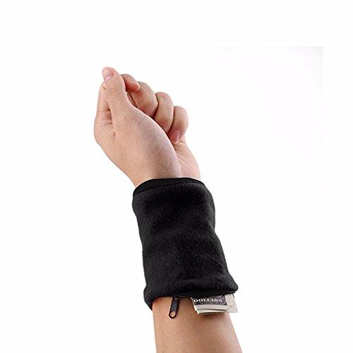 furnido 1Paar Fleece Reißverschluss Armband Schweiß Band Sport Handgelenk Geldbörse Schlüssel Geld Karte Münzfach Aufbewahrungstasche für Running Radfahren und andere Sportarten, schwarz (Fleece-yoga)