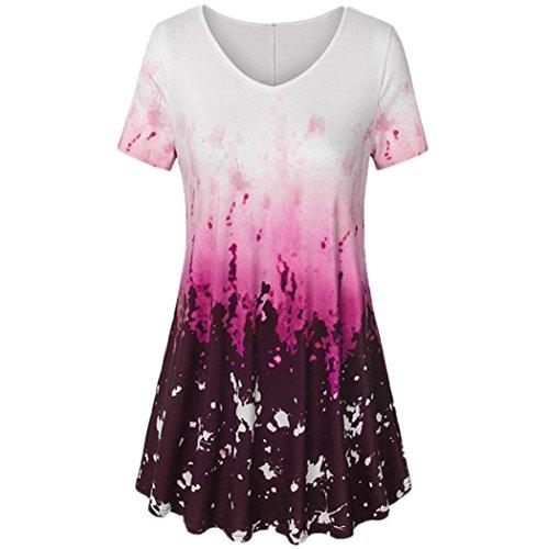 iYmitz Damen V-Ausschnitt Kurzarm-Shirt A-Linie Gebogene Hem Tie Dye Casual Top-Bluse Oberteil T-Shirt Tees(Pink,EU/42-CN/M)
