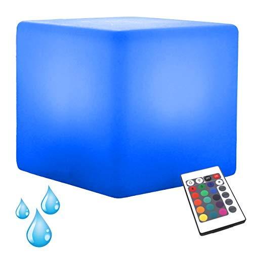 PK Green Erstklassiger LED Würfel Hocker Wasserdicht Outdoor IP65 | 40 cm Sitzwürfel Leuchtwürfel für Garten, Außenbereich | Stehlampe Gartenleuchte Beistelltisch Gartenmöbel mit Akku, Fernbedienung