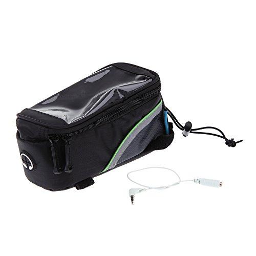 akimgo (TM) 3Farben Fahrrad Tasche 12,2cm CLEAR PVC Fenster Bildschirm berühren Rahmen Front Tube Bag für Handy Aufbewahrung Pannier Bike Grün