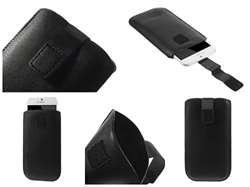 "DFV mobile - Leather pouch case pocket sleeve bag with velcro >      apple iphone 6 [4,7""], color black BLACK"