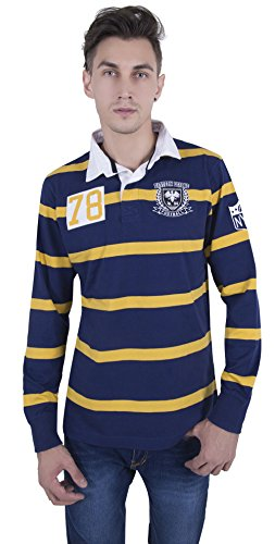 GlamFolio Exclusive Full Sleeve Graphic Printed Men's Rugby Polo Navy Yellow Striped Shirt by Celebrity Designer Rahul Singh (NAVY YELLOW STRIPE, Medium)  available at amazon for Rs.490