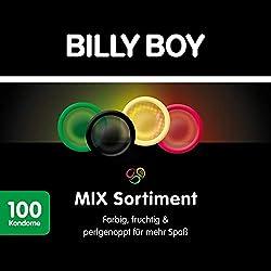 Billy Boy Kondome Mix-Sortiment (farbige, extra feuchte und perlgenoppte) fruchtige, 100er Großpackung