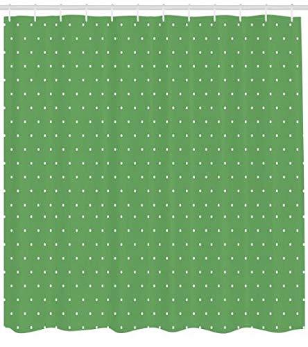 ABAKUHAUS Verde Cortina de Baño, Diseño Simple Retro Vintage Estilo Años 50s 60s con Pequeños Lunares Imagen, Tela Estampa Moderna Fácil Limpieza Antimoho Colores Vibrantes, 175 X 200 cm, Blanco